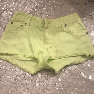 carmar green denim shorts size 24 altered 23